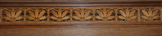 Inlaid border around the Reception Room wainscoting